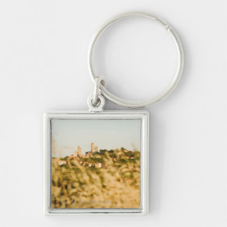 Town on a hill, San Gimignano, Siena Province, Silver-Colored Square Keychain