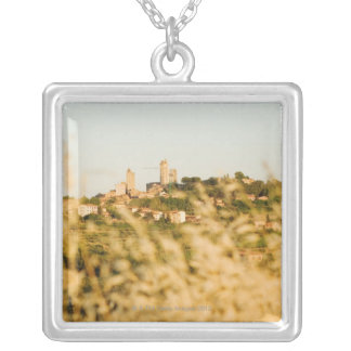 Town on a hill, San Gimignano, Siena Province, Square Pendant Necklace