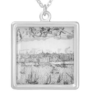 Town Plan of Antwerp, 1549 Silver Plated Necklace