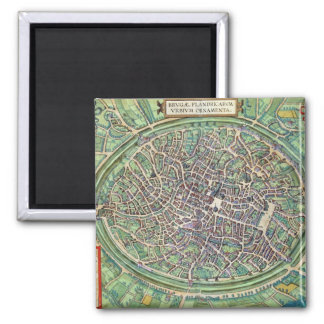 Town Plan of Bruges, from 'Civitates Orbis Terraru 2 Inch Square Magnet