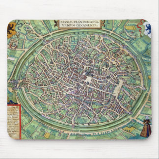 Town Plan of Bruges, from 'Civitates Orbis Terraru Mouse Pad