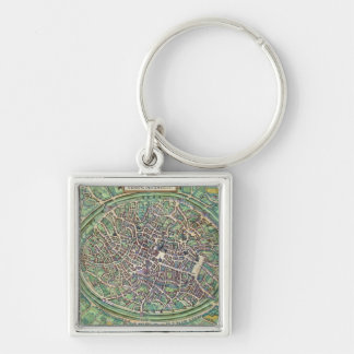 Town Plan of Bruges, from 'Civitates Orbis Terraru Silver-Colored Square Keychain