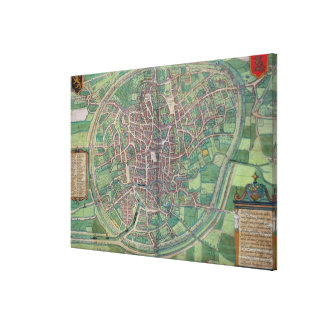 Town Plan of Brussels, from 'Civitates Orbis Terra Canvas Print