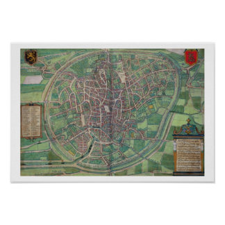 Town Plan of Brussels, from 'Civitates Orbis Terra Poster