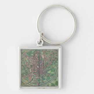 Town Plan of Brussels, from 'Civitates Orbis Terra Silver-Colored Square Keychain