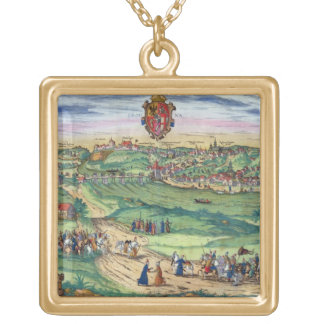 Town Plan of Grodno, from 'Civitates Orbis Terraru Personalized Necklace