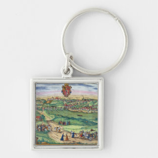 Town Plan of Grodno, from 'Civitates Orbis Terraru Silver-Colored Square Keychain