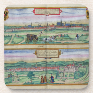 Town Plan of Vienna and Buda, from 'Civitates Orbi Beverage Coaster