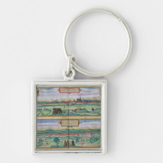 Town Plan of Vienna and Buda, from 'Civitates Orbi Silver-Colored Square Keychain