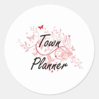 Town Planner Artistic Job Design with Butterflies Classic Round Sticker