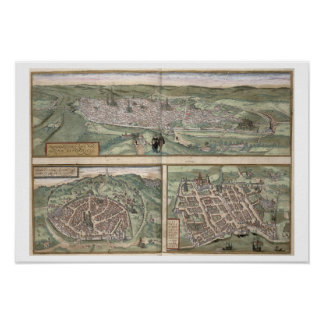 Town Plans of Rouen, Nimes and Bordeaux, from 'Civ Poster