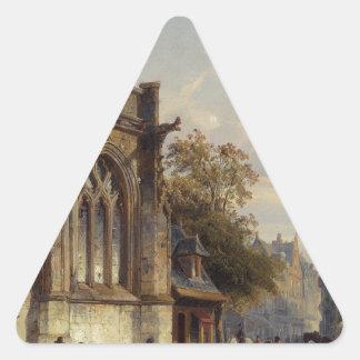 Town Square Before A Church A Capriccio by Corneli Triangle Sticker