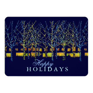 Town Square Lights Happy Holiday Party 5x7 Paper Invitation Card
