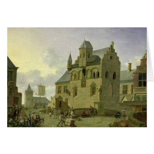 Town square with figures and peasants trading greeting card