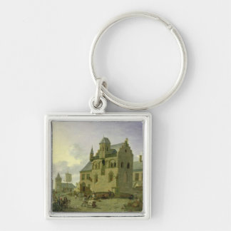 Town square with figures and peasants trading keychain