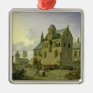 Town square with figures and peasants trading metal ornament