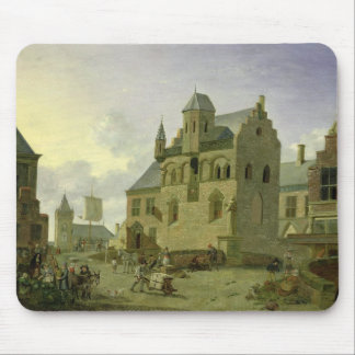 Town square with figures and peasants trading mouse pad