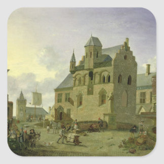Town square with figures and peasants trading square sticker