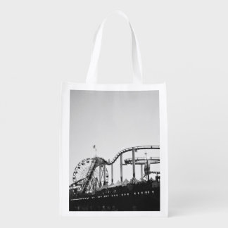 Town Themed, A Black And White Picture Of An Excur Grocery Bags