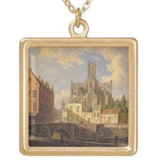 Town View with Figure fishing in a Canal Gold Plated Necklace