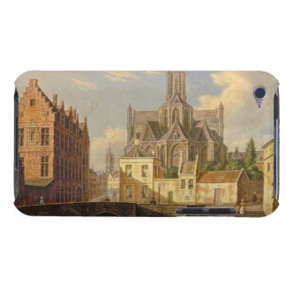 Town View with Figure fishing in a Canal iPod Case-Mate Case