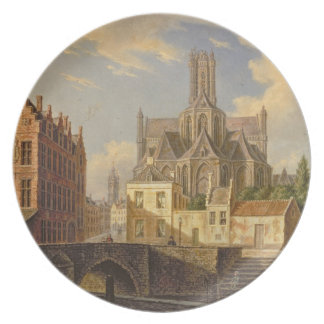 Town View with Figure fishing in a Canal Melamine Plate