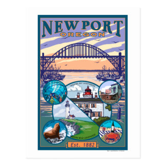 Town Views - Newport, Oregon Postcard