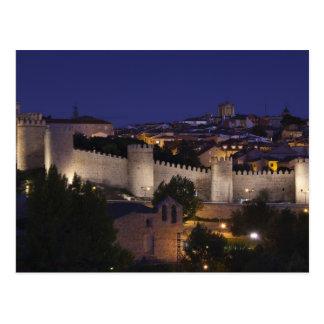 Town walls from Los Cuarto Postes, dusk Postcard