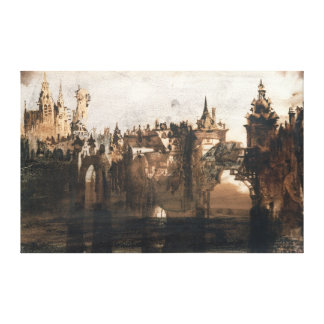 Town with a Broken Bridge Canvas Print
