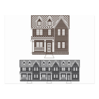 TownHouse row of townhomes vector Postcard
