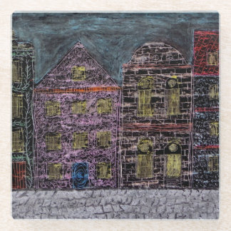 Townhouses Glass Coaster