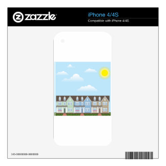 Townhouses Row with Sunny weather Vector iPhone 4 Skins
