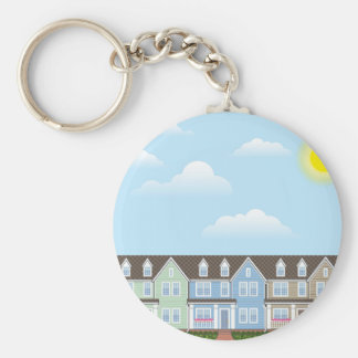 Townhouses Row with Sunny weather Vector Keychain