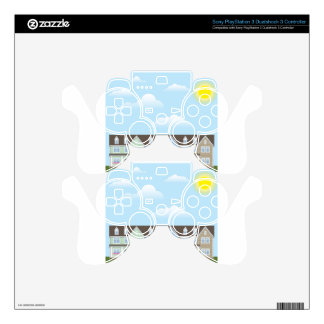 Townhouses Row with Sunny weather Vector Skin For PS3 Controller