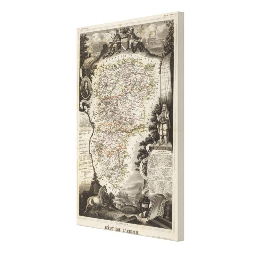 Towns and cities shown Color along boundaries Canvas Print