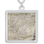 Towns and cities shown Color along boundaries Square Pendant Necklace