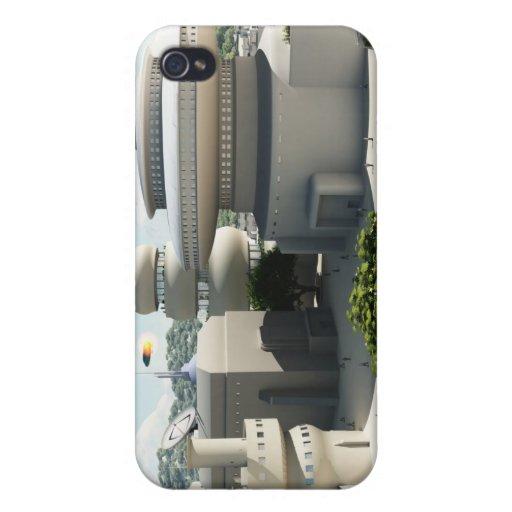 Townscape futurista de la ciencia ficción iPhone 4 carcasas