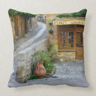 Townscape in Dordogne, France throw pillow