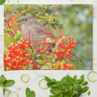 Townsend's Solitaire on the Pyracantha Hand Towel