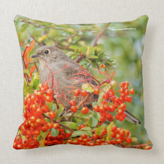 Townsend's Solitaire on the Pyracantha Throw Pillow