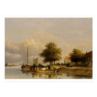 Townsfolk on a quay, Wijk Bij Duursrede Postcard
