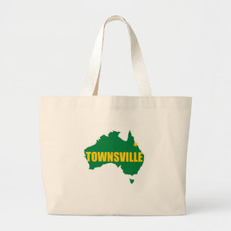 Townsville Green and Gold Map Large Tote Bag