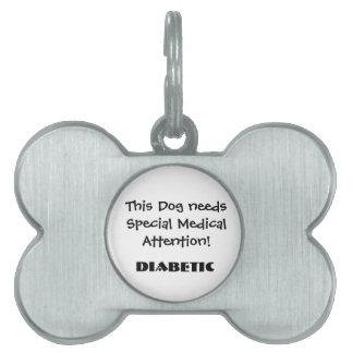 TOWT - Diabético de la placa de identificación de Placas Mascota