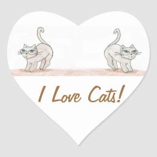 TOWT Double Cat Mascot Heart Sticker