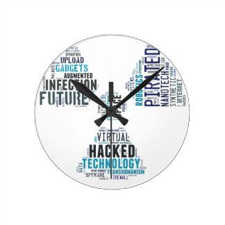 Toxic Cyberpunk Hacker Round Wall Clock