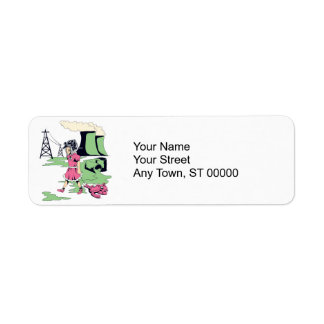 toxic girl vector illustration return address label