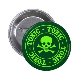 Toxic Green Skull and Crossbones Pinback Button