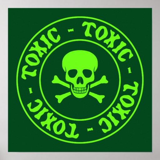 Toxic Green Skull and Crossbones Poster