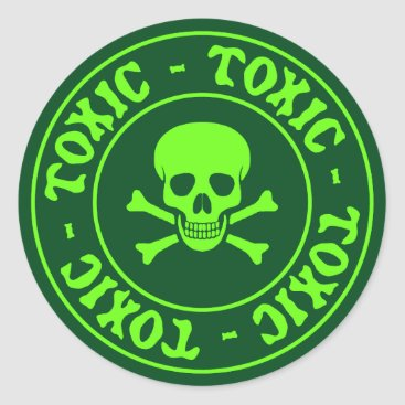 toxicWarnings Toxic Green Skull and Crossbones Sticker