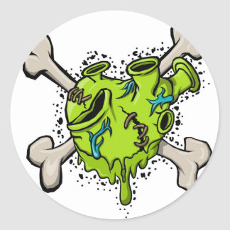 Toxic Heart with Bones 001 (White Back).jpg Classic Round Sticker